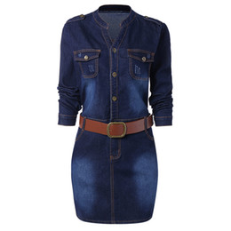 Chinese  Wipalo Plus Size 5XL Fitted Denim Jean Dress With Belt Women Sheath Stand Collar Long Sleeves Dresses Vestidos Causal Dress manufacturers