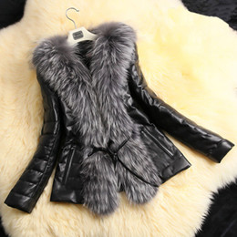 Black leather underwear women online shopping - 2018 Autumn Winter Coat Warm Long Sleeve Faux Fur Coat PU Leather Fur Jacket underwear Plus Size X Black manteau femme hiver C18111401