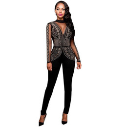 China Long Jumpsuits Playsuits Steampunk Studded Pattern Mesh Insert Night Club Rompers Overalls For Women Winter Jumpsuit C2705 cheap jumpsuits for women patterns suppliers