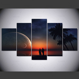 $enCountryForm.capitalKeyWord NZ - 5 Pieces Great Lover Canvas Painting Unframed Modern Landscape Oil Picture For Bedroom Print Poster Gift For Lovers