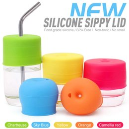 Discount silicone lids for cups - Silicone Sippy Cup Lids Straw Spill Proof Cup Cover for Water Bottle Mason Jar Baby Toddler BPA Free 10pcs lot DEC415