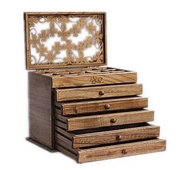 China Clover real wood jewelry box retro style large multilayer marriage holiday gift makeup organizer storage box 32*20.5*25CM cheap wood makeup storage suppliers