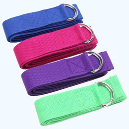 Wholesale 4 color Women Yoga Rope Stretch Strap D Ring Belt Sports Stretch Belt Fitness Exercise Gym Rope Waist Leg Resistance Band Strap