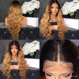 $enCountryForm.capitalKeyWord Australia - Middle Part Ombre Wig With Dark Roots Blonde Wig Glueless Synthetic Lace Front Wig Body Wavy With Baby Hair For African American Wigs