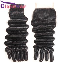 Discount deep curl weft - Aunty Funmi Romance Curls Brazilian Virgin Human Hair Weaves 3 Bundles With Closure Nigeria Loose Deep Wave Hair Extensi