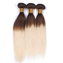$enCountryForm.capitalKeyWord UK - Virgin Brazilian Brown to Blonde Ombre Human Hair Weaves 3Pcs Straight Two Tone 4 613 Medium Brown Root Blonde Ombre Human Hair Bundles