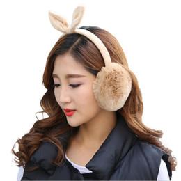 Plush Ear Muffs UK - Winter Autumn Warm Rex Rabbit Fur Ear Muffs Cute Rabbit Ear Earflap Fur Earmuff For Girls Flap Ladies Plush Muffs