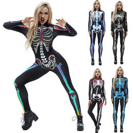 Wholesale halloween costumes resale online - New skeleton D printing halloween costumes tight skinny funny women rompers long sleeved stage cosplay disfraces de halloween costume