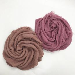 Cotton Viscose Plain Scarves Australia - Square Shawl Scarf Crinkle Plain Wrinkle Muslim Hijab Scarf Cotton Viscose Africa Womes Style 10pcs lot 31 colours