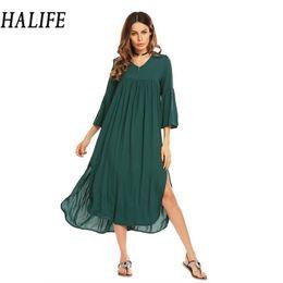 cca3c6a9d3c40 Green Bohemian Style Summer Dress Canada | Best Selling Green ...