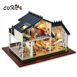 Toy Furniture Wholesale NZ - CUTEBEE Doll House Miniature DIY Dollhouse With Furnitures Wooden House Toys For Children Birthday Gift PROVENCE