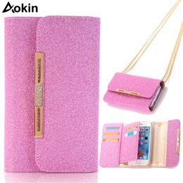 phone wallet case for girls NZ - Aokin Phone Bag For Iphone 7 Glitter Pink Purse Magnetic Detachable Girl Case For Iphone 7 Plus Luxury Wallet Bag Strap Chain