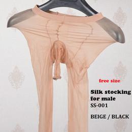 Mode Sexy Style hommes masculins Dentelle Ouvert Entrejambe Collants Doux Élastique Collants Bas Noir découpe bas en Solde