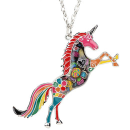 Silver horSe jewelry online shopping - New Original Statement Enamel Unicorn Horse Necklace Pendants With Specular Effect Chain Collar Jewelry Accessories For Women