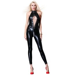 $enCountryForm.capitalKeyWord Australia - New Sleeveless Novelty Women Black Latex Catsuit Hollow Out Bodysuit Pole Dance Lace Up Night Clubwear Erotic Catsuit W926750