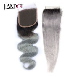 Discount virgin chinese straight hair - Ombre 1b Grey Brazilian Virgin Human Hair Lace Closure Peruvian Malaysian Indian Cambodian Body Wave Straight Hair Swiss