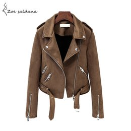 Womens motorcycle faux leather jacket online shopping - Zoe Saldana Autumn Faux Suede Motorcycle Jacket Womens Faux Leather Jacket Women Biker Jacket Turn down Collar Slim PU Coat