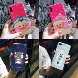 Silicone Duck Iphone Cases Canada - For Iphone X Phone Cases Pink Cheeked Duck Polar Bear Cartoon Frosted New Cell Phone Case For Iphone 6 7 8 Plus