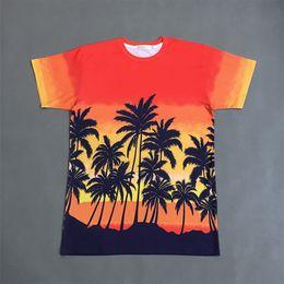 Discount t shirt bigbang - Men's Coconut Palm Print Short Sleeve Tee Shirt Bigbang Hip Hop T-Shirt New Designer Gradient Color Summer Casual S