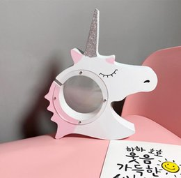kids coin savings banks NZ - Nordic Style Creative Wooden Crafts Unicorn Shape Coin Piggy Bank Kids Room Decoration Birthday Gift Money Saving Box