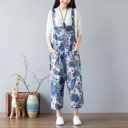 $enCountryForm.capitalKeyWord NZ - Mori Girl Baggy Denim Jumpsuits Leaves Print Bib cowboy Wide leg Pants Adjustable Suspenders Jean Overalls Harem Rompers YT094