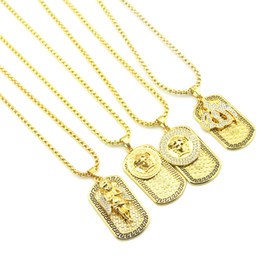 $enCountryForm.capitalKeyWord NZ - Hip Hop Army card Necklace Men's Crystal Rhinestone Angel Fire Avatar Pendant Gold chains For women Rapper Hiphop Jewelry