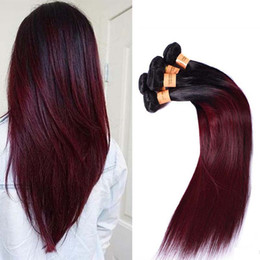 cheap brazilian ombre hair bundles Australia - Brazilian Ombre Straight Hair 4 Bundles Colored 1B 99J Burgundy Brazilian Virgin Human Hair Weave Cheap Ombre Red Wine Hair Extensions