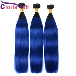 Discount raw remy brazilian bundles Raw Indian Virgin Ombre Hair Weaves 3 Bundles Silky Straight Colored Two Tone 1B Blue Remy Human Hair Extensions For Sal
