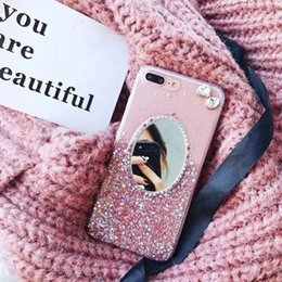 $enCountryForm.capitalKeyWord Canada - Crystal Rhinestone Bling Diamond Glitter Bowknot Rubber Mirror Makeup Case TPU Protective Case Cover For iPhone 6 6S 7 8 Plus X