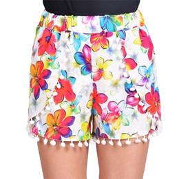 cf3f117343 New Fashion Women Shorts Colorful Floral Print Elastic High Waist Pom Pom  Wide Legs Slim Casual Beach Wear Blue Green Purple Red