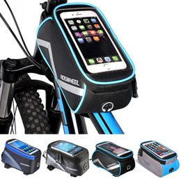 Discount new touch cell phones - NEW Roswheel Bicycle Bags Frame Front Head Top Tube Waterproof Bike Bags&Double IPouch Cycling For 5.5-6.2 in Cell Phone
