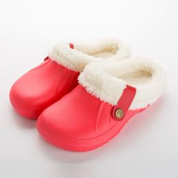 Clogs Women UK - wholesale Winter Women Slippers Soft Shoes Casual Crocus  Clogs With Fur Fleece a0bb32141