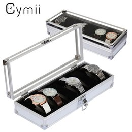 Storage Box Case Aluminium Canada - Cymii Watch Box Case 6 Grid Insert Slots Jewelry Watches Display Storage Box Case Aluminium Watch Jewelry Decoration