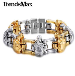sliders motorcycle Canada - Trendsmax 22cm Men's Bracelet 316L Stainless Steel Biker Wristband Skulls Motorcycle Link Chain Punk Jewelry HBM66