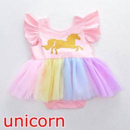 $enCountryForm.capitalKeyWord Canada - INS Baby girls unicorn Printed tutu romper dress cartoon Rainbow horse Dress Children lace TuTu Fly sleeve Jumpsuits 0-2Years free ship