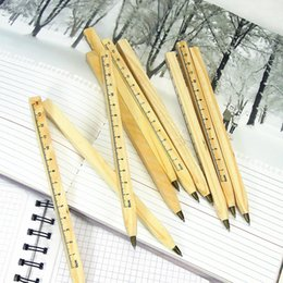Nice statioNery online shopping - Student Ballpoint Pens Handmade Wooden Ruler Pens Cute Stationery Enviromental Pen Nice Gift Manual DIY Multifunction