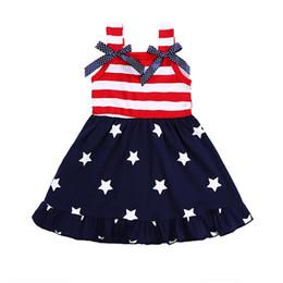b52a6e930d8a American Flag 4th Of July Girls Dress Kids Bowknot Striped Dress Summer  Children Star Baby Spaghetti Vest Princess Dress 2018
