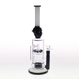 Bongs Percs UK - 38cm Black Glass Bongs Joint 14.4mm Recycler Dab Rig 8 Diffusion perc-Percs Two Function Glass Bong Water Pipes Beaker Smoking Pipes hookahs