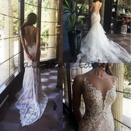 Sexy long dreSS dance online shopping - 2018 Flowers Appliqued Dancing Wedding Dresses Sexy Mermaid Lace Wedding Gowns Detached Train Backless Sheer Neck Bridal Gowns