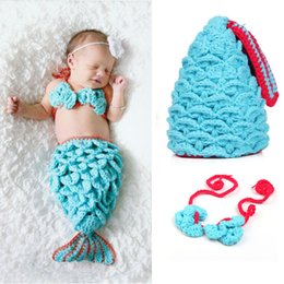 CroChet mermaid baby outfit online shopping - Baby Shower Crochet Mermaid Swaddles Knit Costume Wraps Newborn Blankets Baby Photography Props Diamond Headband set Outfit