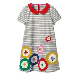 Chinese  Summer Baby Girls Dress Rainbow Printed Children Clothing Toddler Kids Dresses Cotton Girl Enfant Costume Children Clothing manufacturers