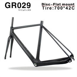 49cm carbon bicycle 2019 - Superlight Full Carbon Gravel Bicycle Frame Di2 Carbon Cyclocross Frame China carbon bike frame with BSA BB30 Bottom Bra