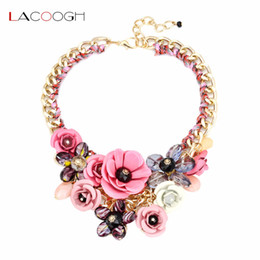 Fashion Collar Choker Jewelry Flower NZ - Lacoogh Wholesale NEW 2017 Fashion Collar Big Metal Flower Necklaces Choker Statement Crystal Necklace for Women Jewelry F10000