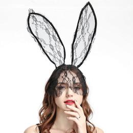 High Quality Fashion Women Girl Hairbands Lace Rabbit Bunny Ears Veil Black  Eye Mask Halloween 2019 Party Headwear Hair Accessories 795f985449a5