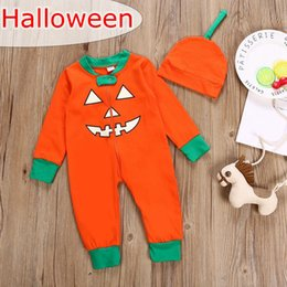 newborn pumpkin hat UK - Halloween INS Newborn Baby Girls Pumpkins Print Orange green Romper with newborn orange hat Infant Fashion Backless Jumpsuit
