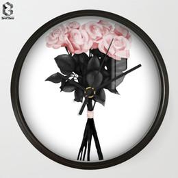 Discount plastic chic - Chic Art Wall Clock Flower For Living Room Wall Decor, Table Decorative Mute Quartz Clocks Scandinavia Saat Home Decorat
