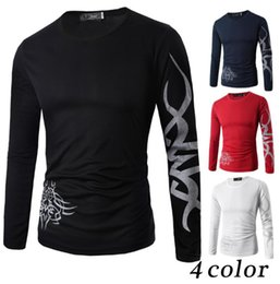 Wholesale men Tattoo Dragon Print T Shirt Long Sleeve Clothing Casual Slim Fit O neckTee men fashion casual T Shirt KKA4227
