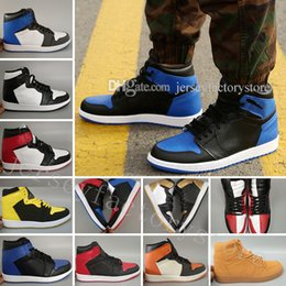 pack games 2019 - New OG 1 Top 3 Men Basketball Shoe Wheat Gold Bred Toe Banned Game Royal Blue Fragment UNC Shattered Metallic Red Camo P