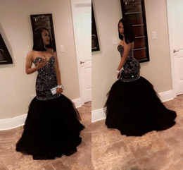 Girls pick up paGeant dresses online shopping - 2018 New Bling Crystal Beading Mermaid Black Girls Pageant Dresses Evening Party Wear Sweetheart Tulle Floor Length Formal Dresses