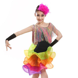 52fbef9e1f44 tassel latin dance dress for girls salsa spandex rumba tango children ballroom  latin dresses kids samba competition 2018 fringe